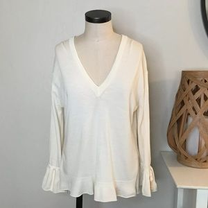 J Crew V Neck Sweater Large Ivory Bell Sleeve
